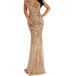 Sequin Maxi Evening Party Dress